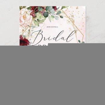 boho burgundy floral gold geometric bridal brunch invitation