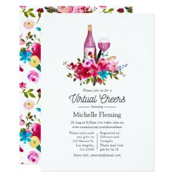 boho chic floral wine themed virtual bridal shower invitation