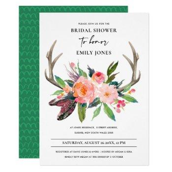boho country blush antler floral bridal shower invitation