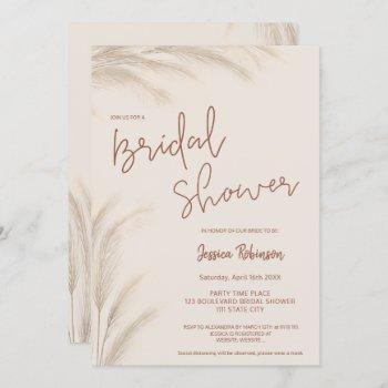 boho desert terracotta pampas photo bridal shower  invitation