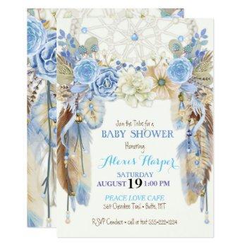 boho dream catcher feathers blue ivory brown invitation