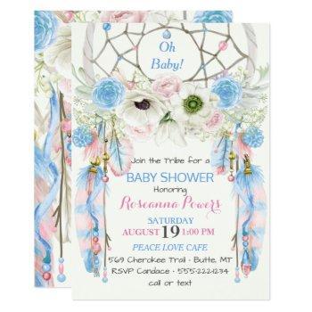 boho dream catcher feathers blue & pink invitation