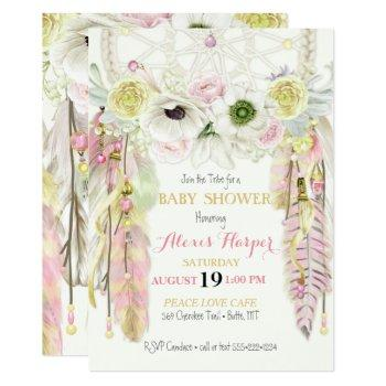 boho dream catcher feathers crystals pink yellow invitation