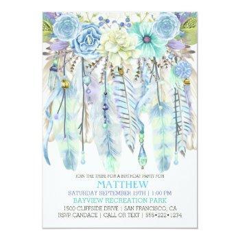 boho dream catcher feathers turquoise blue invitation