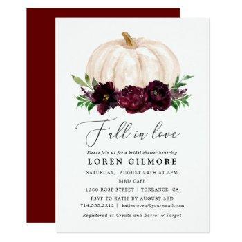 boho fall in love floral pumpkin bridal shower invitation