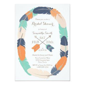 boho feather arrow navy orange teal bridal shower invitation