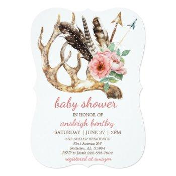 boho floral and antler baby shower invitation