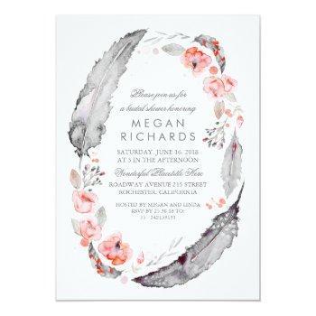 boho floral feathers vintage bridal shower invitation