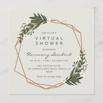boho geometric greenery virtual bridal shower invitation