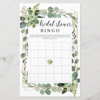 boho greenery succulent flowers gold bridal bingo