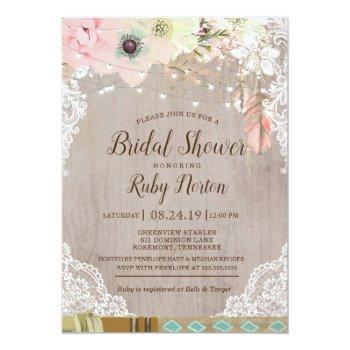 boho lace lights & tribal feather bridal shower invitation