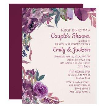 boho lilac plum purple floral couple's wedding invitation