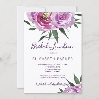 boho mauve peonies purple plum bridal luncheon invitation
