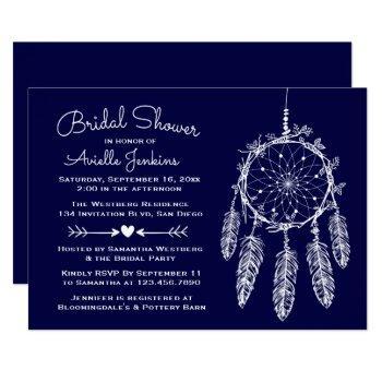 boho navy blue bridal shower dream catcher tribal invitation