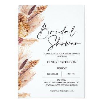 Boho Pampas Grass Bridal Shower Invitation Front View