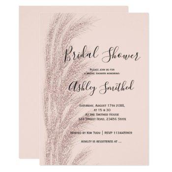 boho pampas grass rose gold blush bridal shower invitation