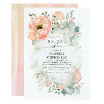 boho peach flowers elegant garden bridal shower invitation