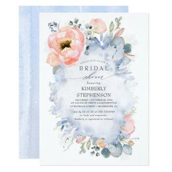 boho peach flowers soft dusty blue bridal shower invitation