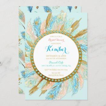 boho peacock feathers mint peach gold turquoise invitation