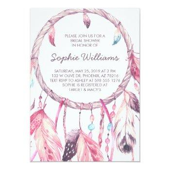 boho pink dreamcatcher bridal shower invitation