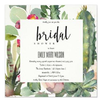 boho pink floral cacti foliage bridal shower invitation
