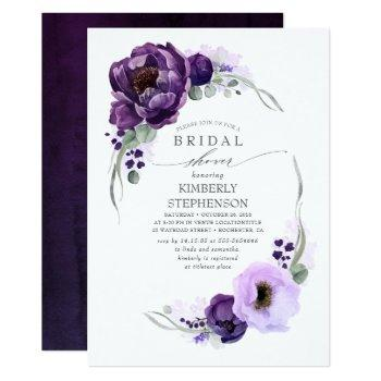 boho purple floral royal bridal shower invitation