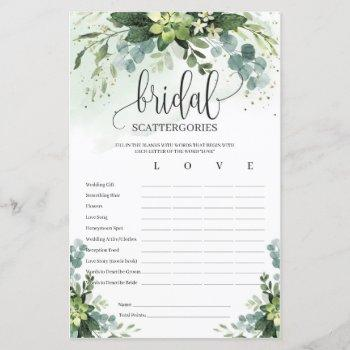 boho succulent greenery bridal scattergories game