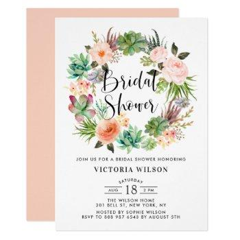 boho succulents floral wreath bridal shower invitation