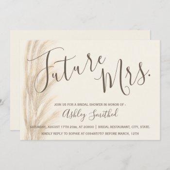 boho summer pampas grass mrs bridal shower invitation