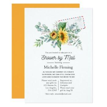 boho sunflower eucalyptus bridal shower by mail invitation