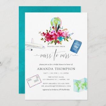 boho traveling from miss to mrs bridal shower invitation
