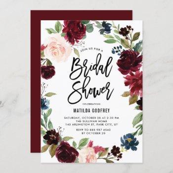 boho watercolor autumn floral wreath bridal shower invitation