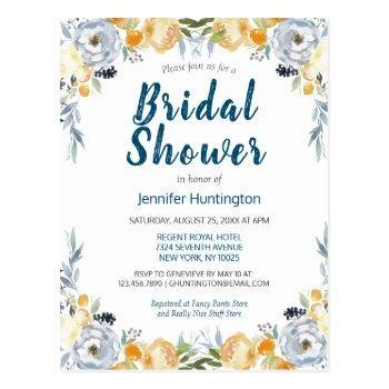 boho watercolor coral floral bridal shower postcard