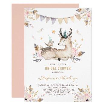 boho watercolor deer and bird floral bridal shower invitation