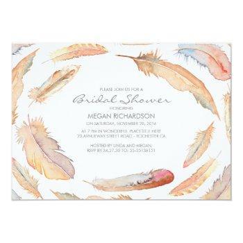 boho watercolor feathers tribal bridal shower invitation