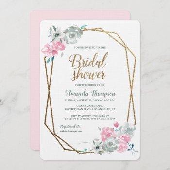 boho watercolor floral bridal shower pink gold invitation