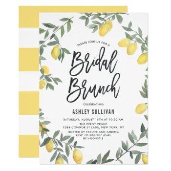 boho watercolor lemon wreath bridal brunch invitation