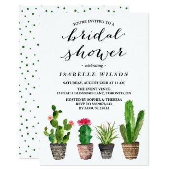 boho watercolor succulents bridal shower invitation