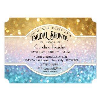 bokeh movie premier ticket style gold blue sparkle invitation