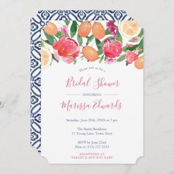 bold florals citrus & spanish tiles bridal shower invitation