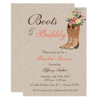 boots & bubbly western country bridal shower invitation
