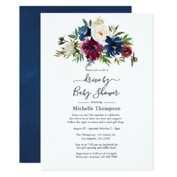 bordo and navy floral drive by shower invitation