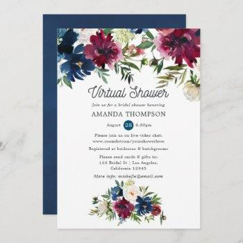 bordo and navy watercolor virtual bridal shower invitation