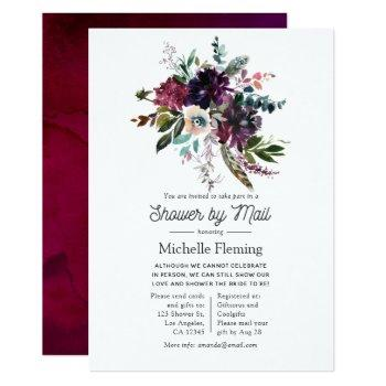 bordo violet plum floral bridal shower by mail invitation