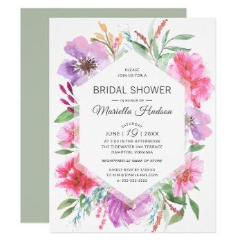 botanical bridal shower watercolor spring bouquet invitation