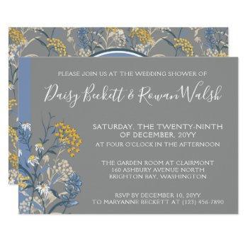 botanical daisy yellow & navy wedding shower invitation