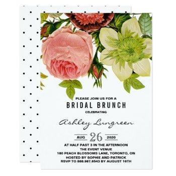botanical flowers vintage bridal brunch invitation