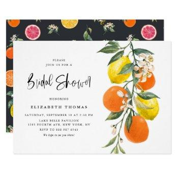botanical lemons and oranges garland bridal shower invitation