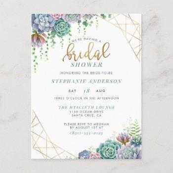 botanical succulents & gold script bridal shower invitation postcard