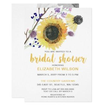 botanical watercolor sunflowers bridal shower invitation